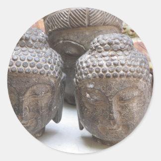 Cabezas de Buda Pegatina Redonda