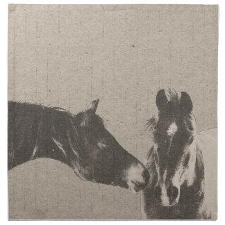Cabezas de caballo rústicas servilleta imprimida