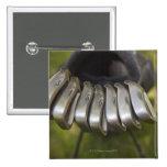 Cabezas de club de golf en un bolso. Tres a nueve Pin Cuadrado