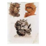 Cabezas de demonios malvados postales
