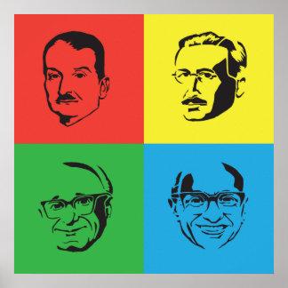 Cabezas de Econ - Mises, Hayek, Rothbard, Friedman Poster