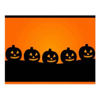 Cabezas de la calabaza del feliz Halloween Tarjeta Postal