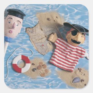 Cabezas de la marioneta del marinero y del pirata pegatina cuadrada