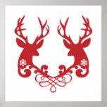 Cabezas de los ciervos del navidad con los ornamen posters