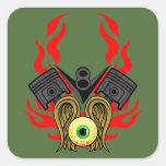 Cabezas de pistón de V8 que vuelan el ojo Pegatina Cuadrada