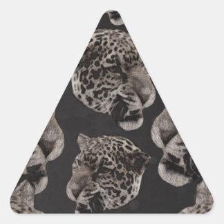 Cabezas del leopardo del Grunge de Black&White Pegatina Triangular