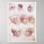 Cabezas grotescas, Leonardo da Vinci Poster