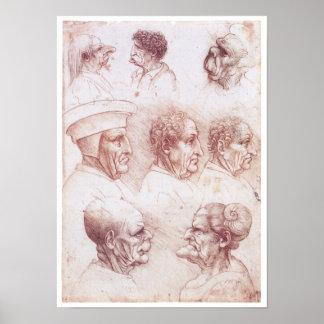 Cabezas grotescas, Leonardo da Vinci Póster