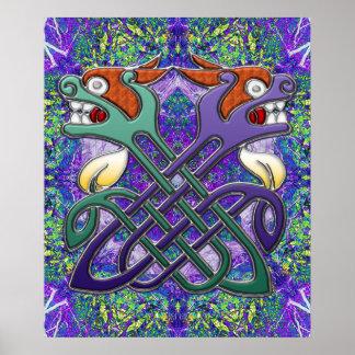 Cabezas partidas del diseño céltico póster
