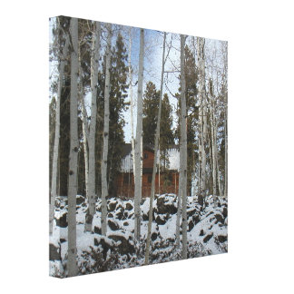 Cabin Among The Aspen Trees Canvas Print