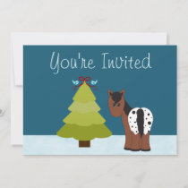 Cabin and Horse Holiday Party Invitation