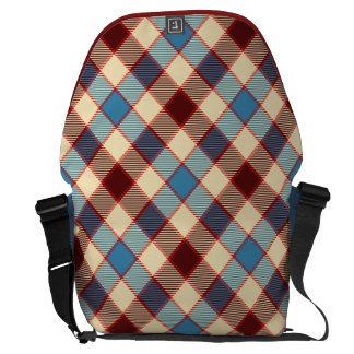 Cabin Blanket Plaid in Red, Blue and Cream Courier Bag