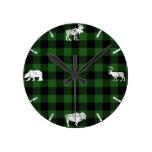 Cabin Buffalo Plaid Lumberjack Check Pattern Green Round Clock
