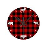 Cabin Buffalo Plaid Lumberjack Check Pattern Red Round Clock