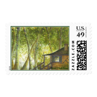 Cabin by the Lake by Brigid O'Neill Hovey Postage Stamp