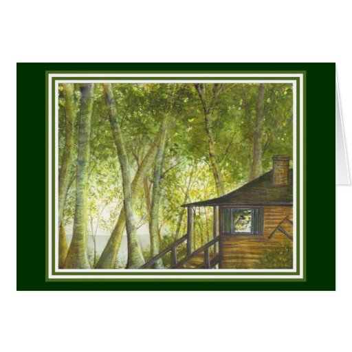 Cabin by the Lake Card by Brigid O'Neill Hovey