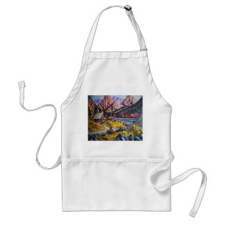 Cabin by the Lake Oil Painting Aprons