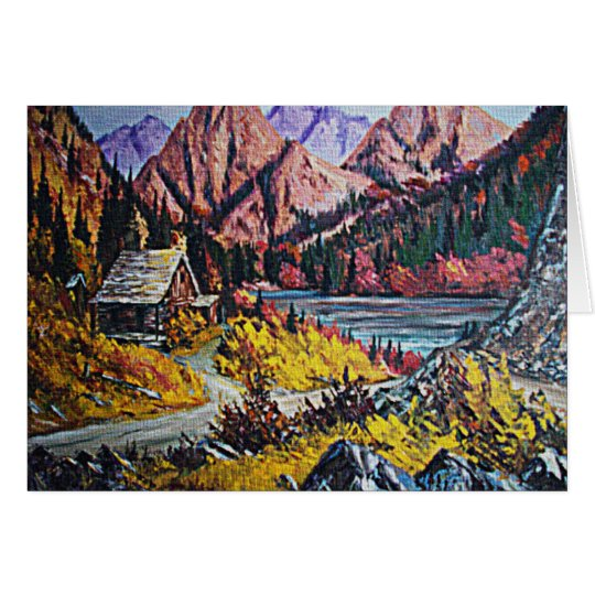 Cabin by the Lake Oil Painting Card
