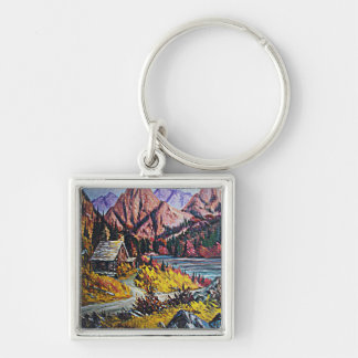 Cabin by the Lake Oil Painting Keychain