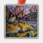 Cabin by the Lake Oil Painting Ornament