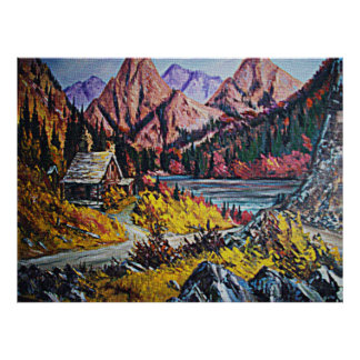 Cabin by the Lake Oil Painting Poster