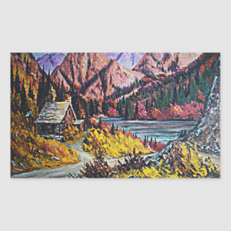Cabin by the Lake Oil Painting Rectangular Sticker