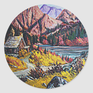 Cabin by the Lake Oil Painting Round Sticker