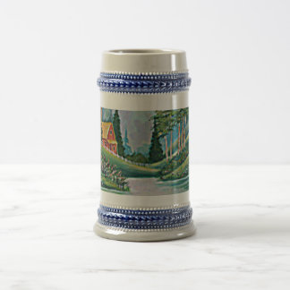 Cabin by the Stream Oil Painting Beer Stein