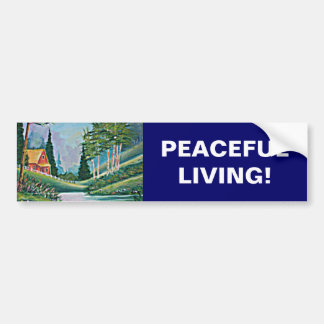 Cabin by the Stream Oil Painting Bumper Sticker