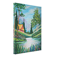 Cabin by the Stream Oil Painting Canvas Print