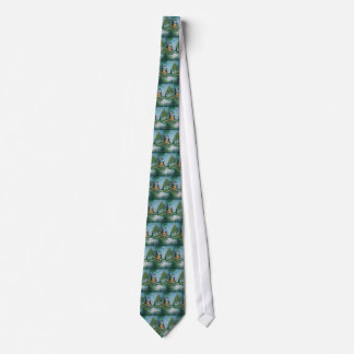 Cabin by the Stream Oil Painting Neck Tie