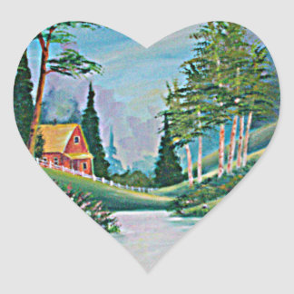 Cabin by the Stream Oil Painting Sticker