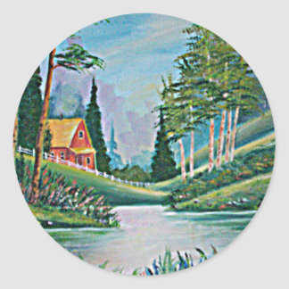 Cabin by the Stream Oil Painting Stickers