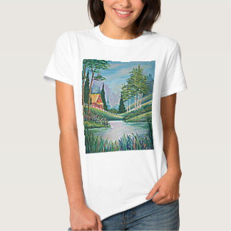 Cabin by the Stream Oil Painting T-shirt