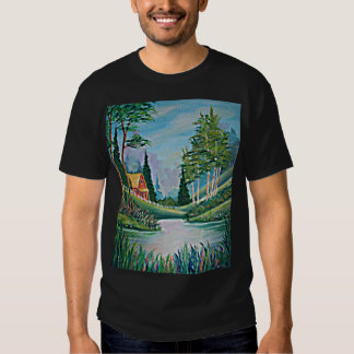 Cabin by the Stream Oil Painting Tee Shirt