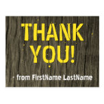 "[ Thumbnail: Cabin Chic, Nature-Inspired ""Thank You!"" Postcard ]"