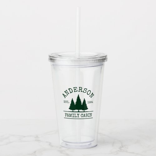 Cabin Family Name Forest Green Acrylic Tumbler