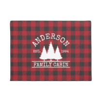 Cabin Family Name Red Buffalo Plaid Doormat