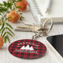 Cabin Family Name Red Buffalo Plaid Keychain