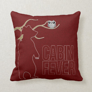 Cabin Fever Woodland Creatures in Red Throw Pillow