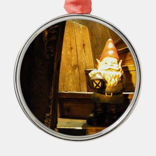 Cabin Gnome Metal Ornament