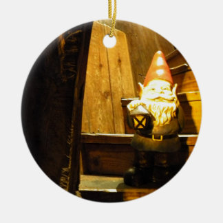 Cabin Gnome Double-Sided Ceramic Round Christmas Ornament