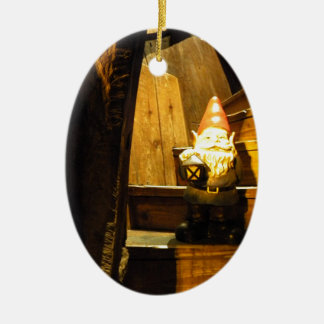 Cabin Gnome Double-Sided Oval Ceramic Christmas Ornament
