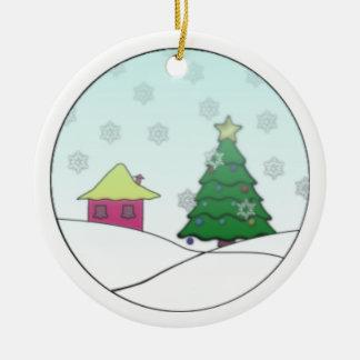 Cabin in Christmas Ceramic Ornament