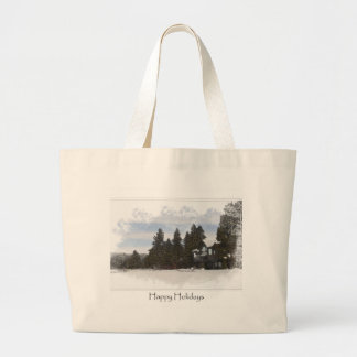 Cabin in Snow Happy Holidays Christmas Large Tote Bag