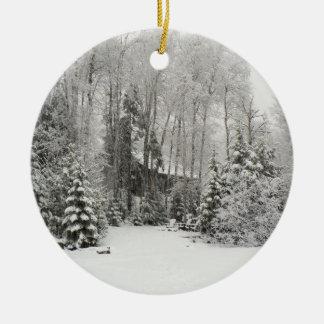 Cabin in Snowfall Ornament