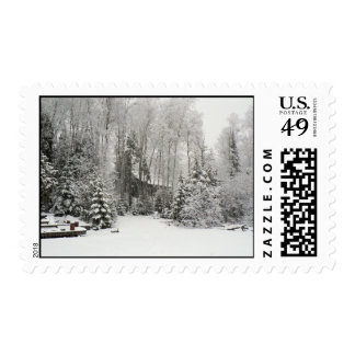 Cabin in Snowfall Stamp