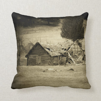 Cabin in the Field two sided Throw Pillow