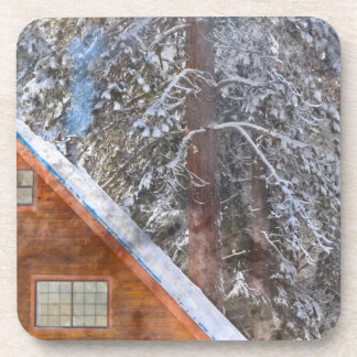 Cabin in the Snow Beverage Coaster