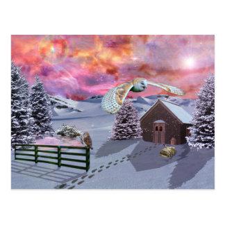 Cabin in the snow.. postcard